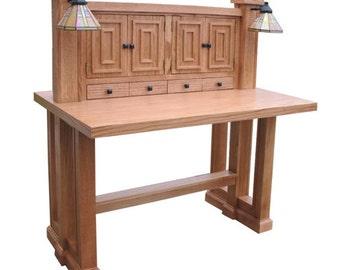 Handmade Reproduction 1908 Lighted Desk