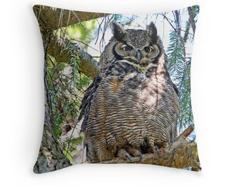 Owl Gift, Owl Cushion, Owl Pillow, Owl Decor, Great Horned Owl, Owl Photography,Owl Throw Pillow, Wildlife Cushion, Bird Decor, Nature Decor