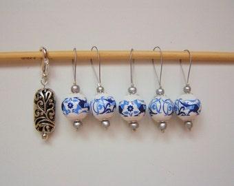 Snag-free Stitch Marker Set Porcelain Beads Removable Silver Plated Marker