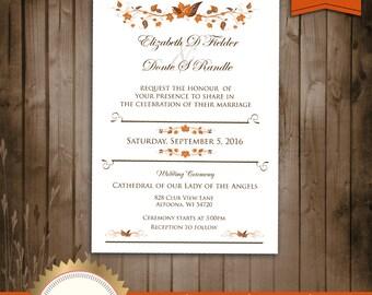 Autumn Wedding Invitation, Fall Leaves Wedding Invitation - Digital File, Printable