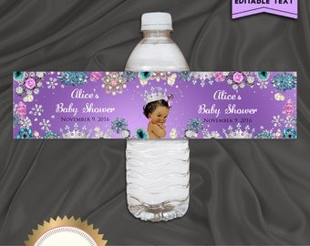 Printable Baby Shower Water Bottle Labels, Little Princess, Royal Baby Girl, Purple, Digital File, EDITABLE text, Microsoft® Word Format