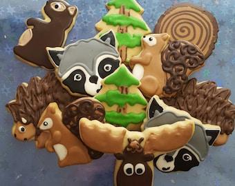 12 gourmet sugar cookies: woodland animals