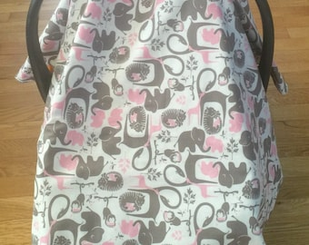 Reversible pink and grey baby elephant, giraffe, tiger, monkey with polka dots and tie ribbons