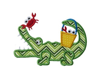 Alligator Crab Bucket Applique Machine Embroidery Digital Design Gator Crocodile