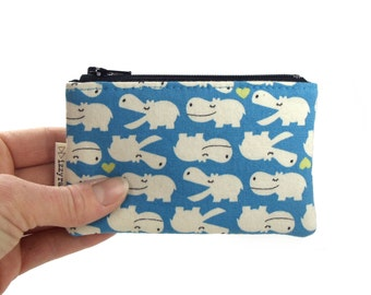 Coin Purse - Hippos - Kawaii - Zipper Coin Pouch - Cute Coin Purse - Change Wallet - Zipper Bag - Blue - Hippotomus - Card Wallet