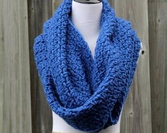 Infinity scarf,  soft wool scarf, cobalt infinity scarf, 100% wool scarf, Chunky knit scarf, blanket scarf, soft knit scarf, winter scarf