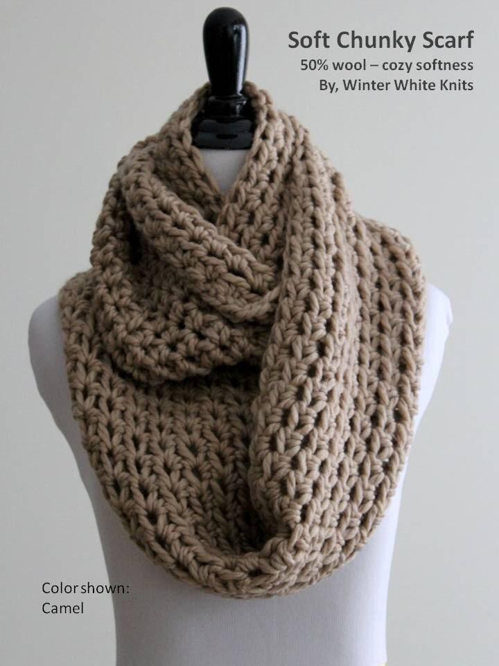 Chunky Knit Scarf Winter Scarf Infinity Scarf Camel Knit