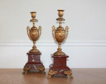Antique French Candlesticks, Napoleon III, Bronze Candle Holder, Marble Candlestick, Gold Candelabras, Hollywood Regency Chandelier
