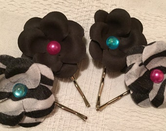 Black/Zebra Hydrangea Hair Pins