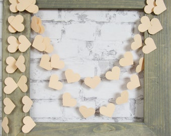 Peach Heart Garland - Peach Paper Garland - Peach Wedding Decor - Peach Garland