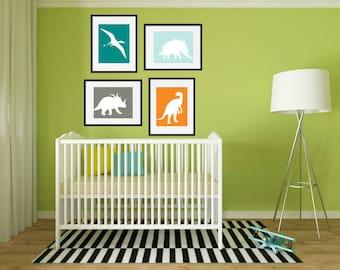Dinosaur Nursery Art, Dinosaur Nursery Wall Art, Dinosaur Art, Dinosaur Nursery Decor, Dinosaur Wall Art, Playroom wall art, Set of 4