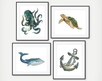 Nautical Decor - Nautical Watercolor Art Prints - Nautical Nursery Decor - Octopus Art - Nautical Bathroom Decor - Sea Bathroom