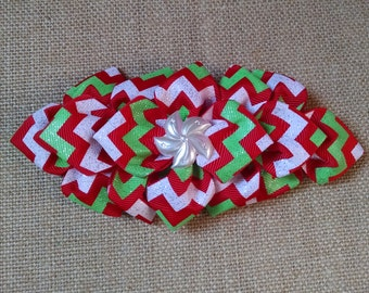Christmas Hairbow, Chevron Hairbow, Holiday Hairbow, Girls Hair Accessory, Girls Christmas Bow, Red Christmas Bow, Little Girls Hairbow