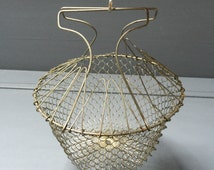 French Vintage Collapsible Wire Egg Basket