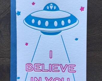 Letterpress Card, 80s 90s, good luck, encouragement, best wishes, new job, school, retro hot neon pink blue