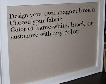 "Framed Fabric Magnet Board Large Magnetic Bulletin Board XL 41""x29 Memo Board Vintage Wedding Kitchen Bulletin board Farmhouse Shabby Chic"