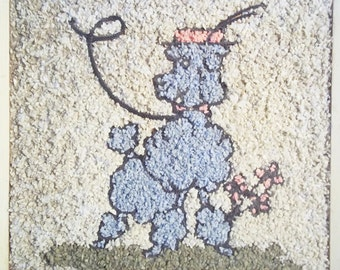1960's Gravel Art of a Blue Poodle with Pill Box Hat and Rhinestones