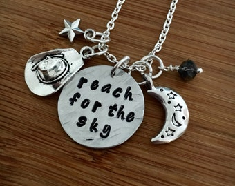 Reach for the sky-toy story necklace-Cowboy necklace-Friendship Necklace-hammered