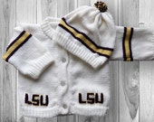 LSU Knitted Baby Sweater