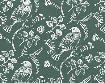 "Wrapping Paper: Forest Green Kraft Gift Wrap Sheet with White Love Birds (70cm x 50cm / 27.5"" x 19.5"")"