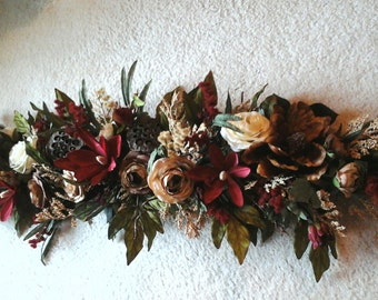 Floral Swag, Silk Floral Wreath, SHIPPING INCLUDED, Summer, Winter Magnolia Floral Wall Arrangement, Over Picture, Door, Window Swag, Wreath