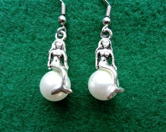 White Pearl Mermaid Earrings