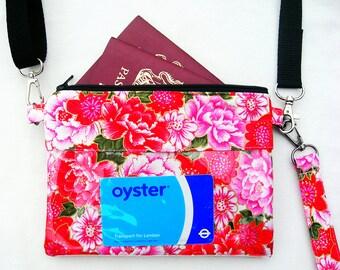 Clear window purse. Clear screen purse. Passport purse. Passport bag. Small travel bag. Pink bag. Clear screen bag.  Small crossbody purse
