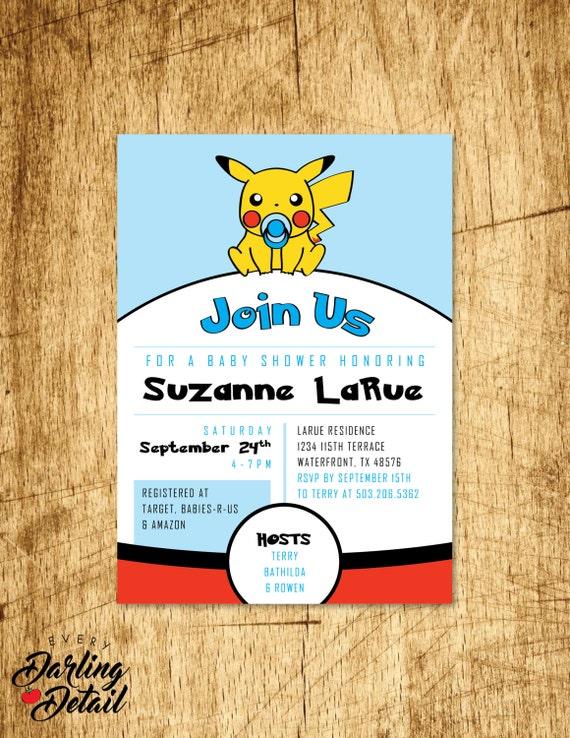 to video game pokemon inspired baby shower invitation custom baby