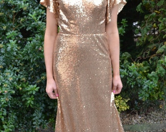 Custom made vintage-inspired 'Sandrine' gown full sequin flutter sleeves fitted dress. Choice of color and fabric! Formal reproduction dress