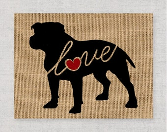 Pitbull / Pittie / Blue Nose w/ Natural Ears - Burlap Dog Breed Home Decor Print Gift for Dog Lovers - Can Be Personalized with Name (101s)