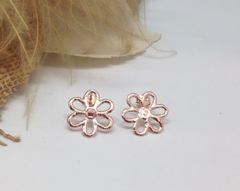 Ear studs 'Flower' pink gold plated silver