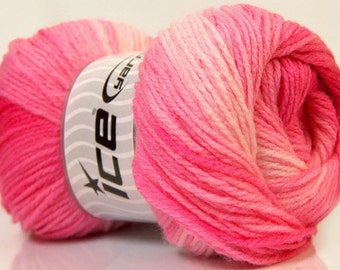 Magic Light yarn, self striping acrylic baby yarn, Pink, White, 393 yards, Ice Yarns Brand # 22021