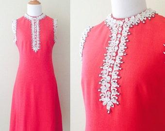 Vintage Beaded Red & White Shift Dress | size medium | 1960s