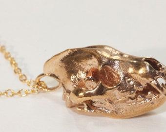 Hyena Skull Animal Skull Necklace Bronze White Bronze Sterling Silver Animal Skull Jewelry