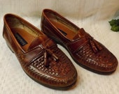 Giorgio Brutini Leather Woven Tassel Loafers Size 8 Newark Brown
