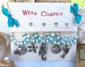 Wine Charms, Beach Wine Glass Charms - Set of 8, Nuatical Themed Wine Charms, Aqua Blue Sea Glass Charms, Wine Accessories, LasmasCreations.