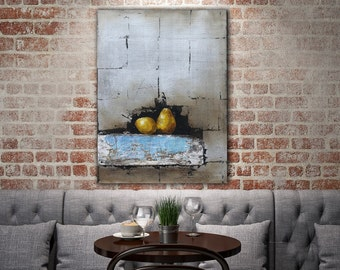 Pear Original Painting / Still Life Fruit Oil Painting / Art Wall Decor / Fruit Art Series /  Peeling Painting