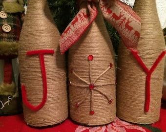 Twine wrapped wine bottles, Christmas Joy Wine Bottles Decor holiday decor, wine bottles, decorated wine bottles, Christmas gifts, rustic
