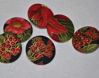 "Fabric Buttons, Christmas Poinsettia Fabric Covered Buttons - 1.25"" 6's"