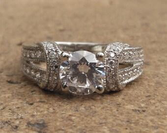 Diamond Engagement Ring / 14K White Gold Ring / Diamond Ring / Semi Mount Ring