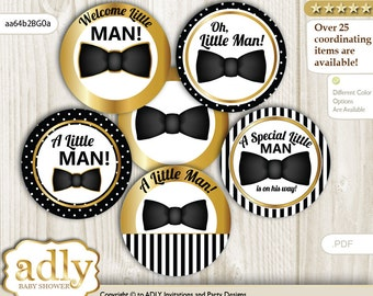 Boy Bow Tie Cupcake Toppers for Baby Shower Printable DIY, favor tags, circles, It's a Boy, Stripes - aa64b2BG0