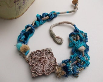 Blue Lake...OOAK...Fiber Art necklace...Handmade Crochet Ethnic Chunky Necklace with a pendant made of wood and lace...Hand wrapped...