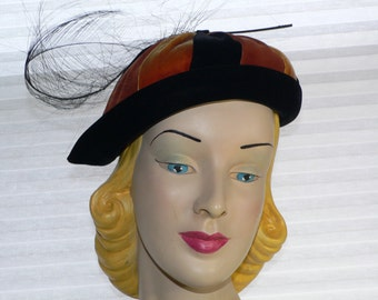 Vintage 1950s  Mr Stanley Blacke and Rust Velvet Hat with Feather Trim