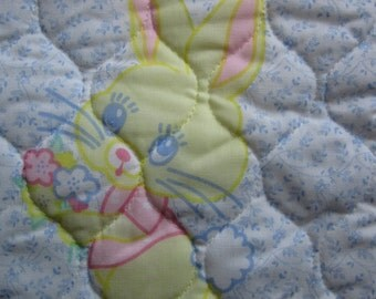 Vintage Baby Bibs Nursery Toys Quilted Calico Fabric Panel Unused