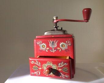 Vintage coffee grinder, Wood Coffee Grinder: Red with Painted Flowers, Old food grinder, Wooden mill, Vintage mill, Wooden kitchenware