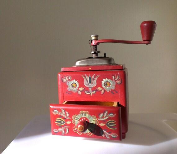 Vintage Coffee Grinder Wood Coffee Grinder Red With Painted