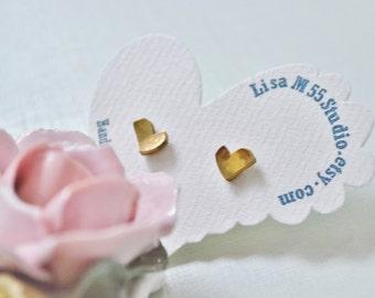 Sweet Heart brass stud earrings (small), Gold Heart stud earrings