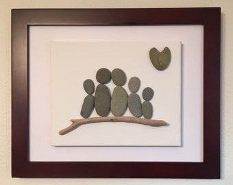 Pebble Art/ Family of Five/ Canvas /Family Sculpture/ California Big Sur/ heart shaped rock/ driftwood/ floating cancas
