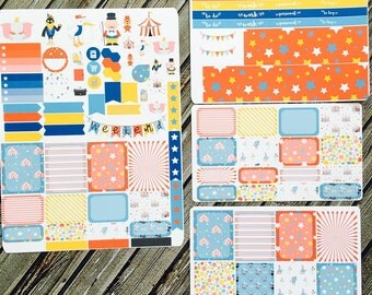 Flying Elephant Kit Weekly Planner Stickers Set, for use with Erin Condren Life Planner, Happy Planner