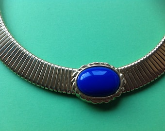Runway Signed MONET Omega Goldtone Collar Necklace with Blue Cabochon